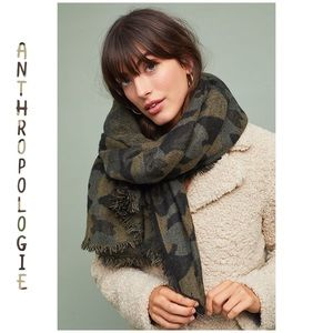 "NEW Anthropologie Camo Fringe Scarf 55"" x 52"""